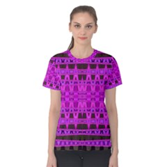 Bright Pink Black Geometric Pattern Women s Cotton Tee by BrightVibesDesign