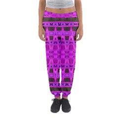 Bright Pink Black Geometric Pattern Women s Jogger Sweatpants
