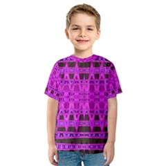 Bright Pink Black Geometric Pattern Kid s Sport Mesh Tee