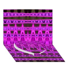 Bright Pink Black Geometric Pattern Heart Bottom 3d Greeting Card (7x5)  by BrightVibesDesign