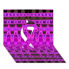 Bright Pink Black Geometric Pattern Ribbon 3d Greeting Card (7x5)  by BrightVibesDesign