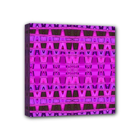 Bright Pink Black Geometric Pattern Mini Canvas 4  X 4