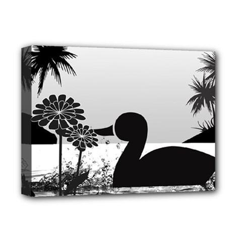 Duck Sihouette Romance Black & White Deluxe Canvas 16  X 12   by TastefulDesigns