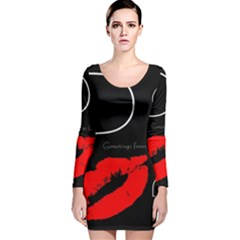 Greetings From Paris 1500 1500 Red Lipstick Kiss Black Postcard Design Long Sleeve Velvet Bodycon Dress by yoursparklingshop