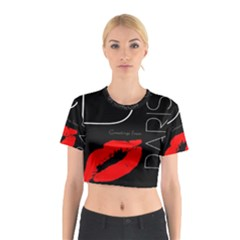 Greetings From Paris Red Lipstick Kiss Black Postcard Cotton Crop Top by yoursparklingshop
