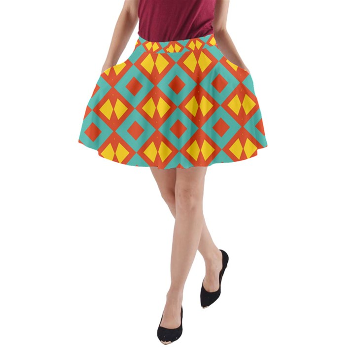 Blue rhombus pattern                A-Line Pocket Skirt