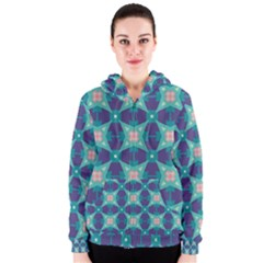 Blue Stars Pattern                  Women s Zipper Hoodie by LalyLauraFLM