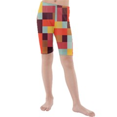 Tiled Colorful Background Kid s Mid Length Swim Shorts