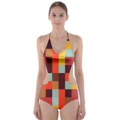 Tiled Colorful Background Cut-out One Piece Swimsuit