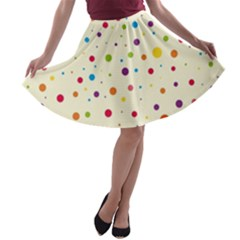 Colorful Dots Pattern A Line Skater Skirt