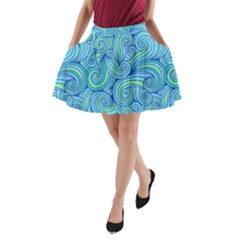 Abstract Blue Wave Pattern A Line Pocket Skirt by TastefulDesigns