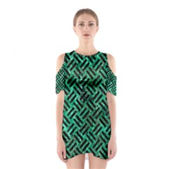 Woven2 Black Marble & Green Marble (r) Shoulder Cutout One Piece