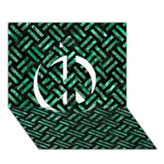 Woven2 Black Marble & Green Marble Peace Sign 3d Greeting Card (7x5)