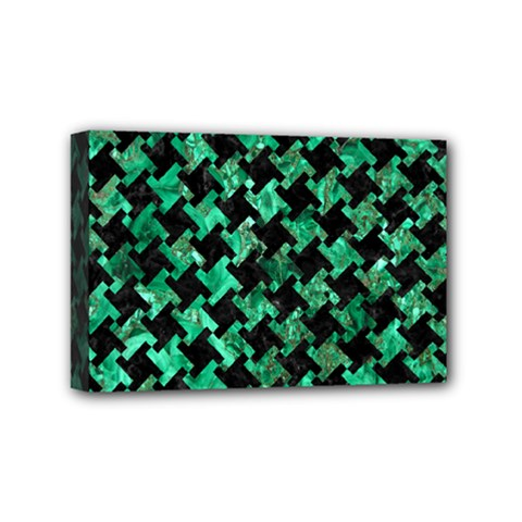 Houndstooth2 Black Marble & Green Marble Mini Canvas 6  X 4  (stretched) by trendistuff