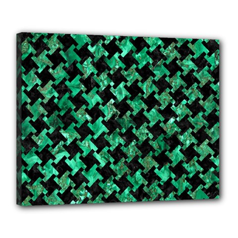 Houndstooth2 Black Marble & Green Marble Canvas 20  X 16  (stretched) by trendistuff