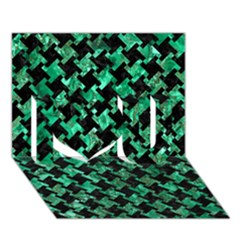 Houndstooth2 Black Marble & Green Marble I Love You 3d Greeting Card (7x5) by trendistuff