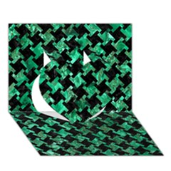 Houndstooth2 Black Marble & Green Marble Heart 3d Greeting Card (7x5) by trendistuff
