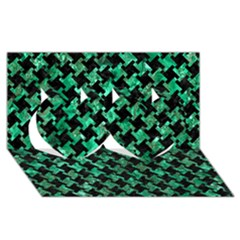 Houndstooth2 Black Marble & Green Marble Twin Hearts 3d Greeting Card (8x4) by trendistuff
