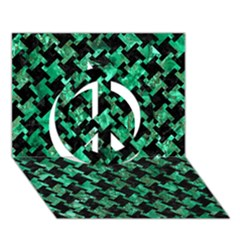 Houndstooth2 Black Marble & Green Marble Peace Sign 3d Greeting Card (7x5) by trendistuff