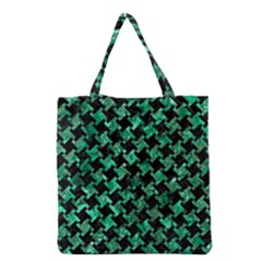 Houndstooth2 Black Marble & Green Marble Grocery Tote Bag by trendistuff