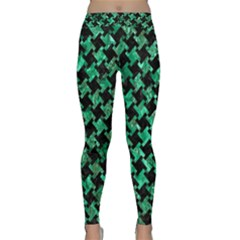 Houndstooth2 Black Marble & Green Marble Classic Yoga Leggings by trendistuff