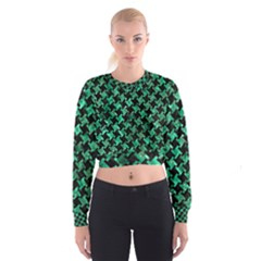 Houndstooth2 Black Marble & Green Marble Cropped Sweatshirt