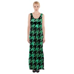 Houndstooth1 Black Marble & Green Marble Maxi Thigh Split Dress