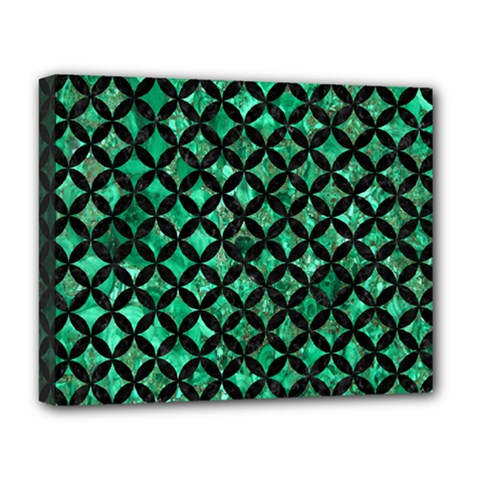 Circles3 Black Marble & Green Marble (r) Deluxe Canvas 20  X 16  (stretched) by trendistuff