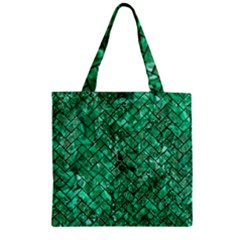 Brick2 Black Marble & Green Marble (r) Zipper Grocery Tote Bag