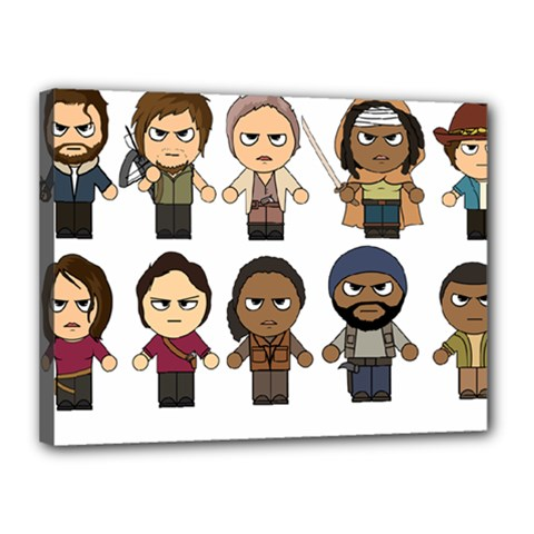 The Walking Dead   Main Characters Chibi   Amc Walking Dead   Manga Dead Canvas 16  X 12  by PTsImaginarium