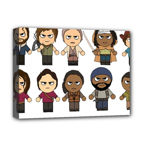 The Walking Dead   Main Characters Chibi   Amc Walking Dead   Manga Dead Deluxe Canvas 16  X 12   by PTsImaginarium
