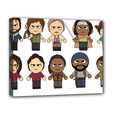 The Walking Dead   Main Characters Chibi   Amc Walking Dead   Manga Dead Deluxe Canvas 20  X 16   by PTsImaginarium