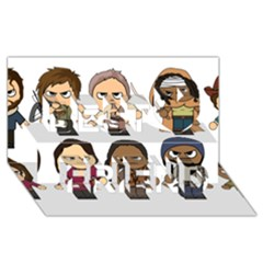 The Walking Dead   Main Characters Chibi   Amc Walking Dead   Manga Dead Best Friends 3d Greeting Card (8x4)  by PTsImaginarium