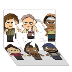 The Walking Dead   Main Characters Chibi   Amc Walking Dead   Manga Dead Love 3d Greeting Card (7x5)  by PTsImaginarium