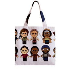 The Walking Dead   Main Characters Chibi   Amc Walking Dead   Manga Dead Grocery Tote Bag by PTsImaginarium