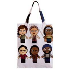 The Walking Dead   Main Characters Chibi   Amc Walking Dead   Manga Dead Zipper Classic Tote Bag by PTsImaginarium