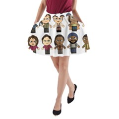 The Walking Dead   Main Characters Chibi   Amc Walking Dead   Manga Dead A Line Pocket Skirt by PTsImaginarium