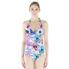 Watercolor Spring Flowers Women s Halter One Piece Swimsuit