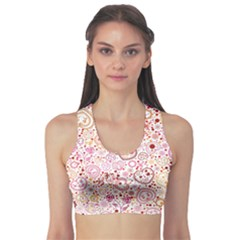Ornamental Pattern With Hearts And Flowers  Sports Bra by TastefulDesigns