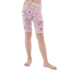 Ornamental Pattern With Hearts And Flowers  Kid s Mid Length Swim Shorts