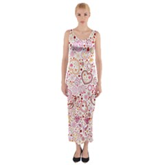 Ornamental Pattern With Hearts And Flowers  Fitted Maxi Dress