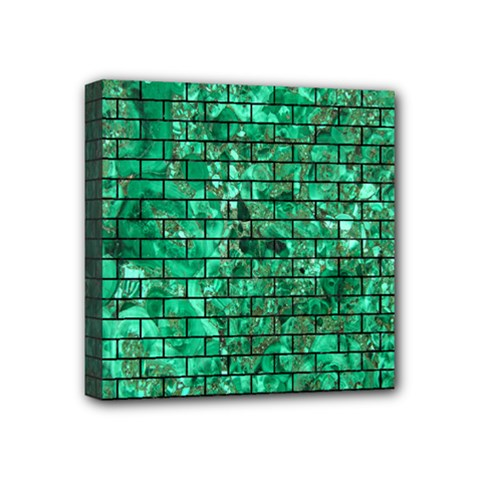 Brick1 Black Marble & Green Marble (r) Mini Canvas 4  X 4  (stretched) by trendistuff