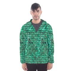 Brick1 Black Marble & Green Marble (r) Hooded Wind Breaker (men)