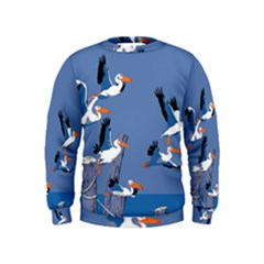 Abstract Pelicans Seascape Tropical Pop Art Kids  Sweatshirt by WaltCurleeArt