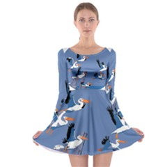 Abstract Pelicans Seascape Tropical Pop Art Long Sleeve Skater Dress by WaltCurleeArt