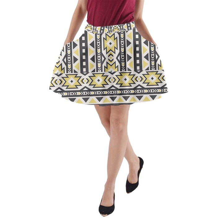 Ornamental Black and yellow boho pattern A-Line Pocket Skirt