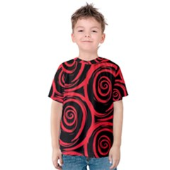 Abtract  Red Roses Pattern Kid s Cotton Tee by TastefulDesigns