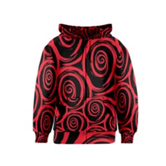 Abtract  Red Roses Pattern Kids  Zipper Hoodie by TastefulDesigns