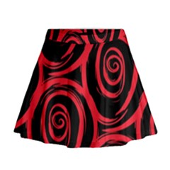 Abtract  Red Roses Pattern Mini Flare Skirt by TastefulDesigns