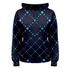 Seamless Geometric Blue Dots Pattern  Women s Pullover Hoodie